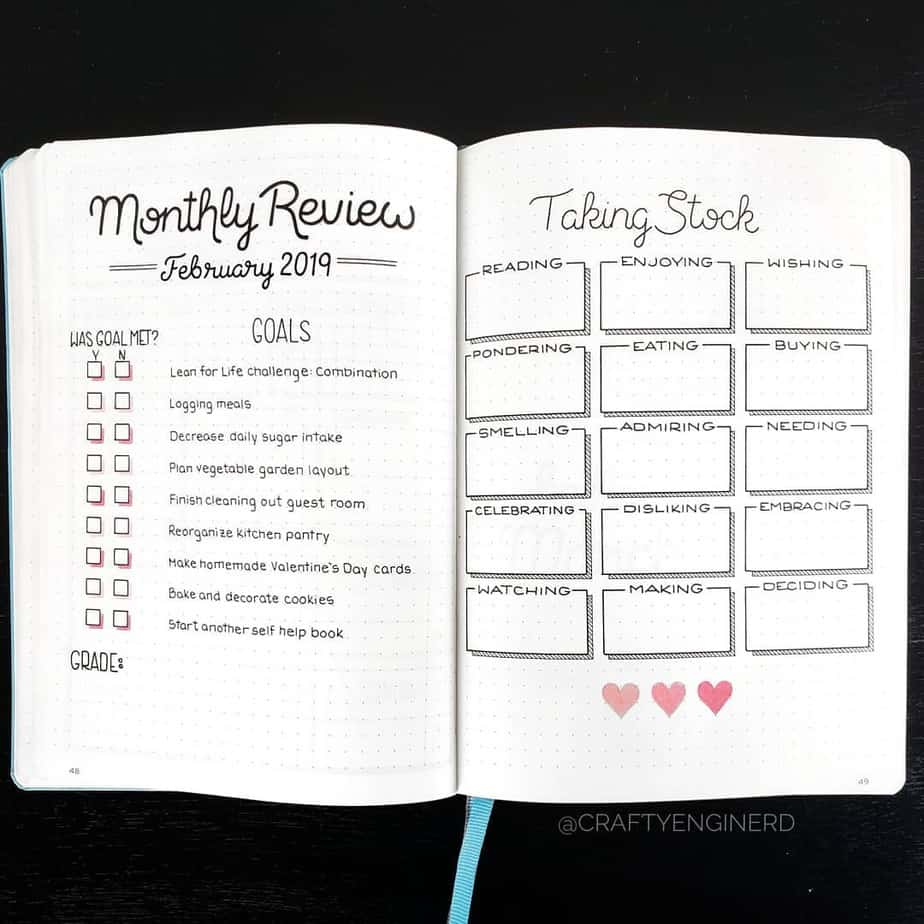 Why You Need A Monthly Review Page In Your Bullet Journal, spread by @craftyenginerd l | Masha Plans