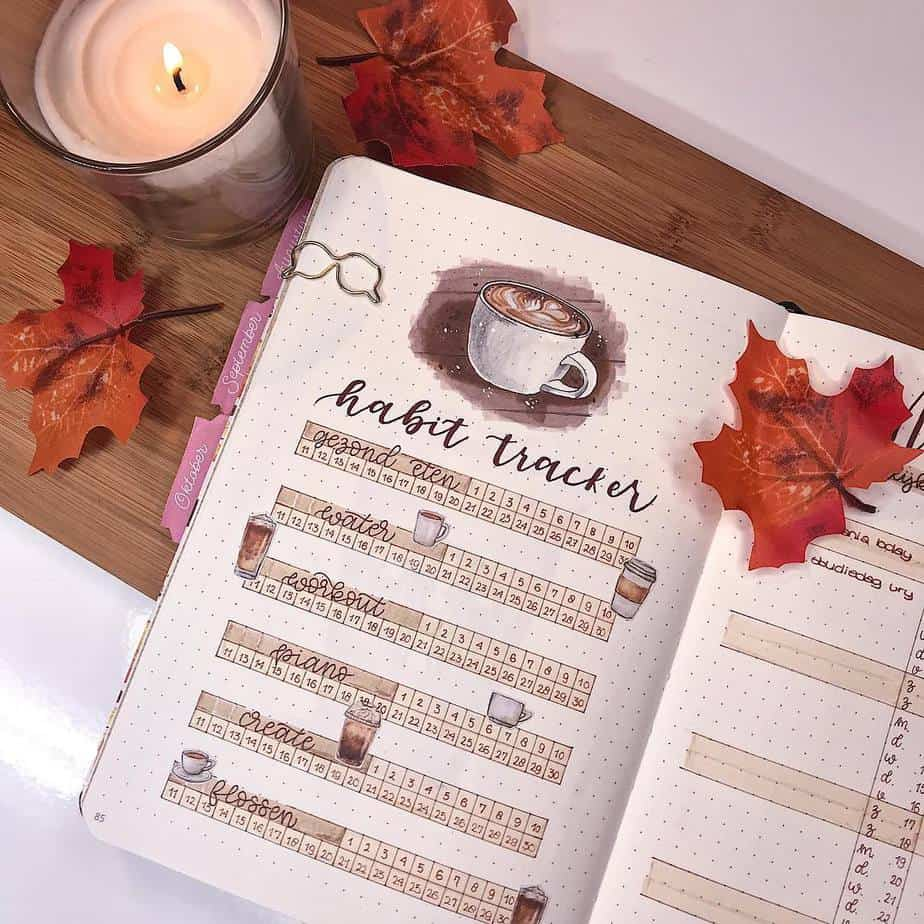 27 Coffee Bullet Journal Theme Inspirations & My November Plan With Me, Spread by @journalwithkate | Masha Plans