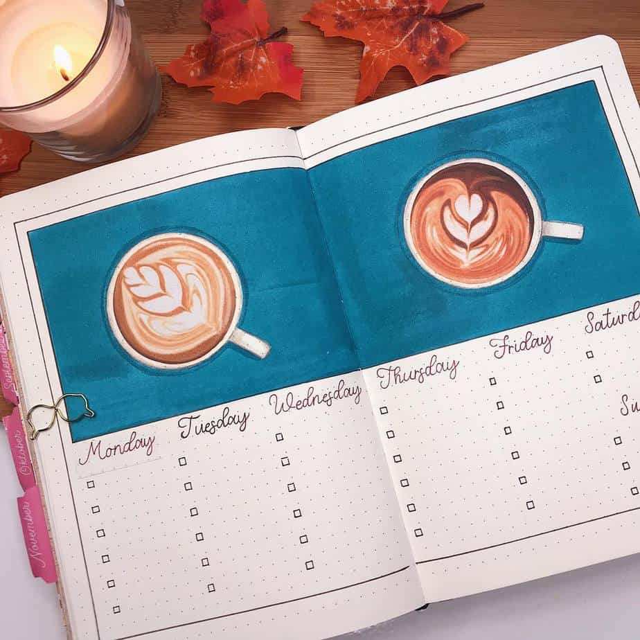 27 Coffee Bullet Journal Theme Inspirations & My November Plan With Me, Spread by @thuys.bujo | Masha Plans