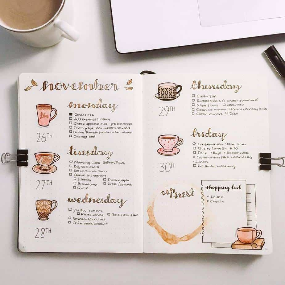 27 Coffee Bullet Journal Theme Inspirations & My November Plan With Me, Spread by @kathrynsarahjournals | Masha Plans