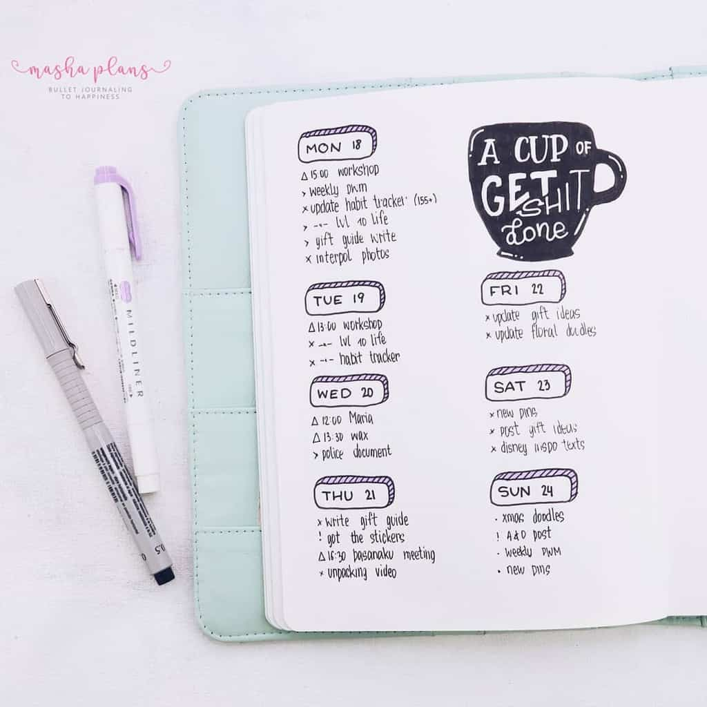 Coffee Bullet Journal Theme Inspirations - weekly spread | Masha Plans