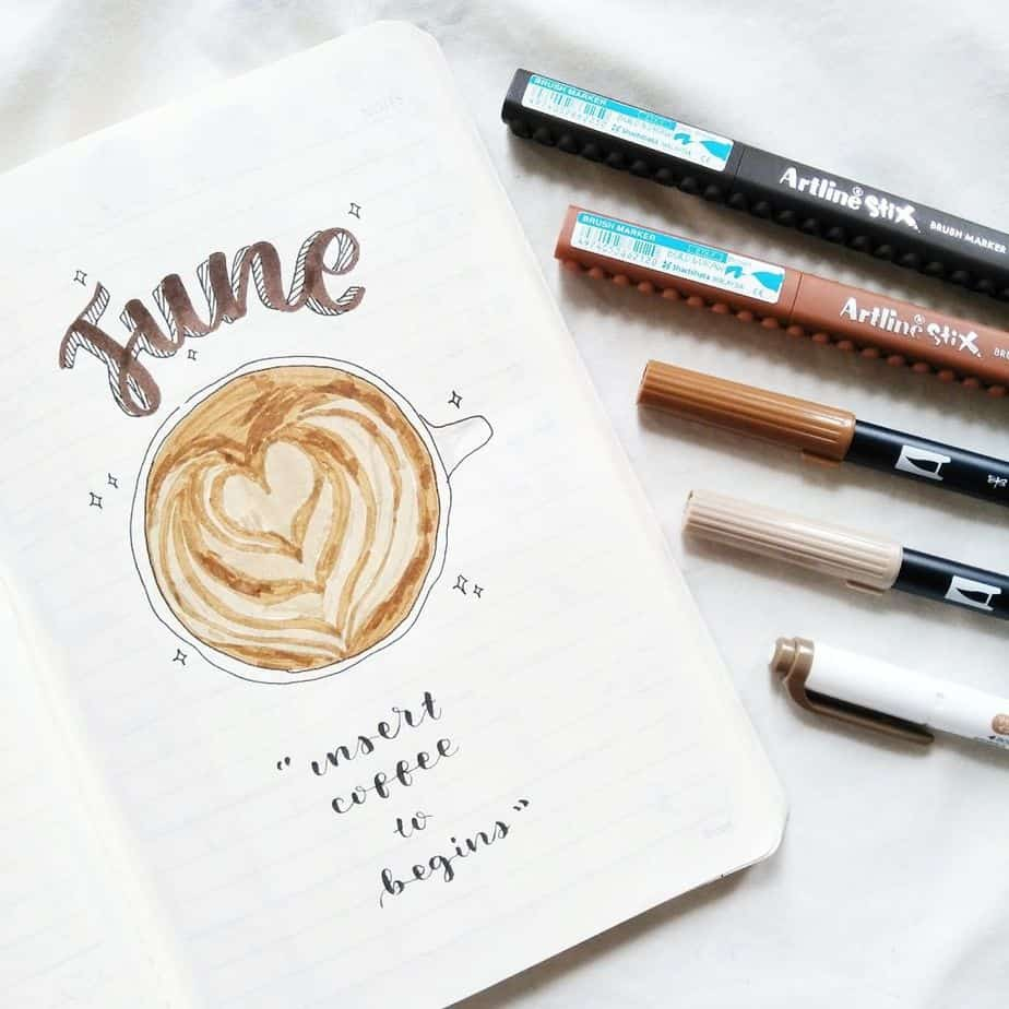 27 Coffee Bullet Journal Theme Inspirations & My November Plan With Me, Spread by @risstudy | Masha Plans