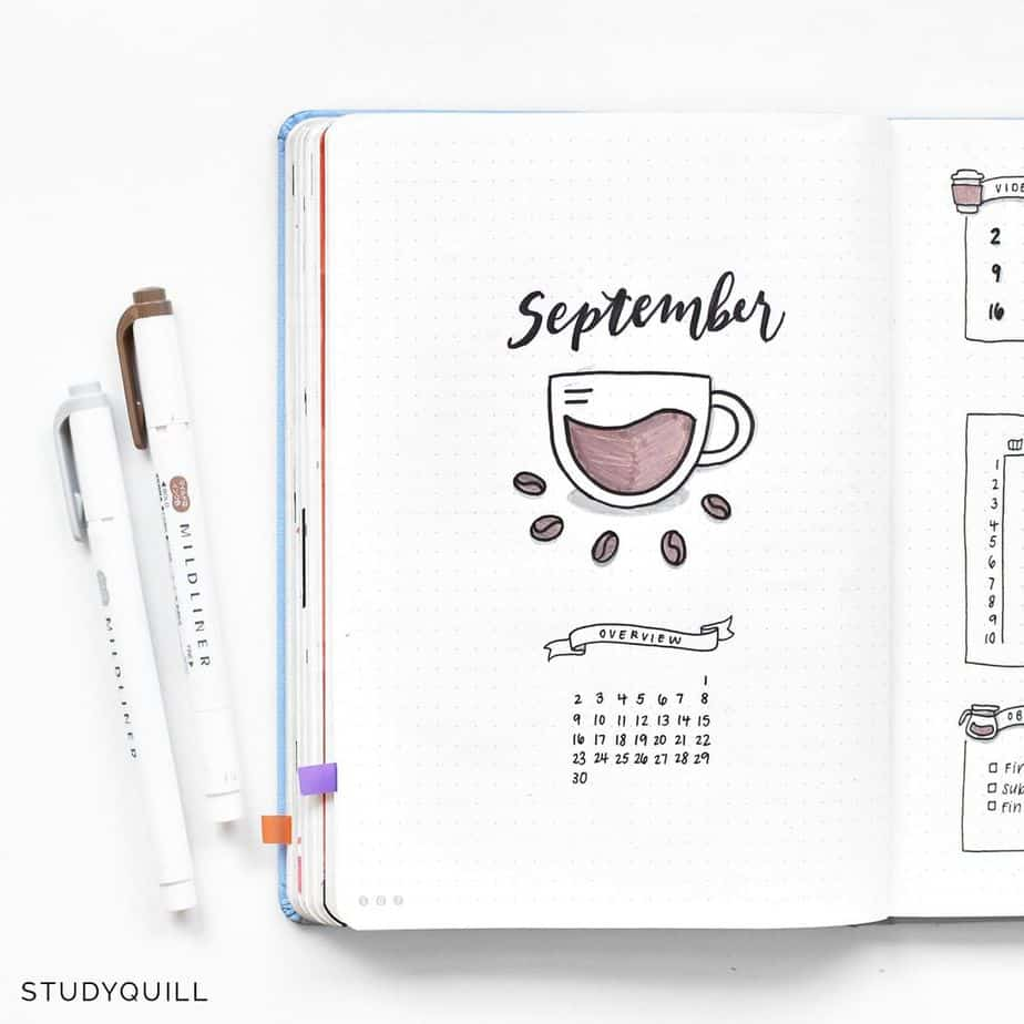 27 Coffee Bullet Journal Theme Inspirations & My November Plan With Me, Spread by @studyquill | Masha Plans