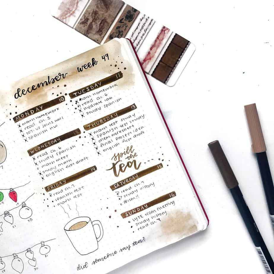 27 Coffee Bullet Journal Theme Inspirations & My November Plan With Me, Spread by @suncerulean | Masha Plans