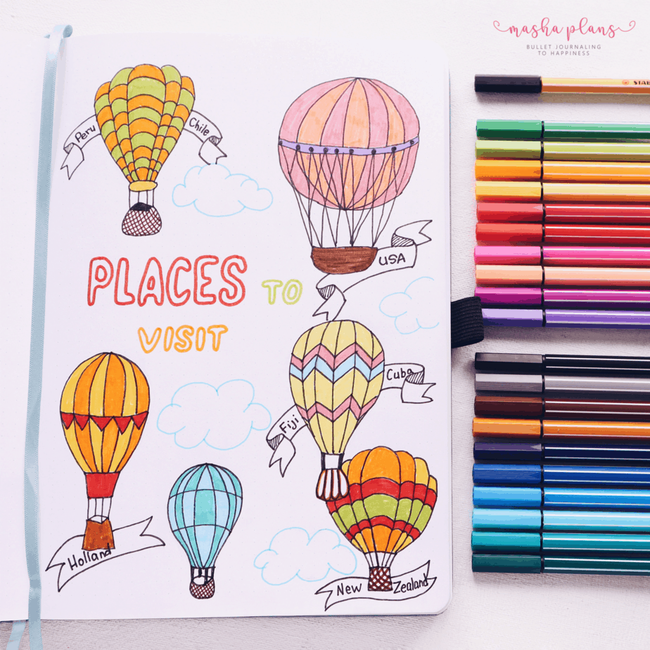 31 Fun and Simple Bullet Journal Page Ideas, Places To Visit Page | Masha Plans