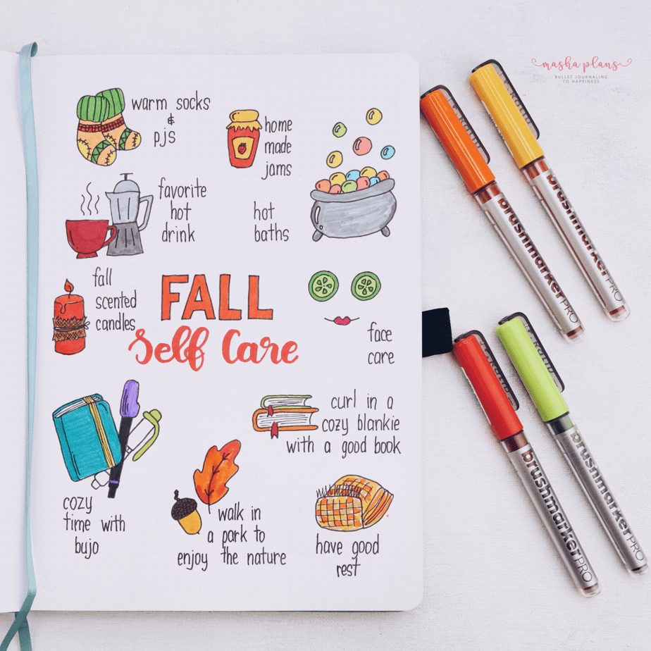 31 Fun and Simple Bullet Journal Page Ideas, Fall Selfcare Page | Masha Plans