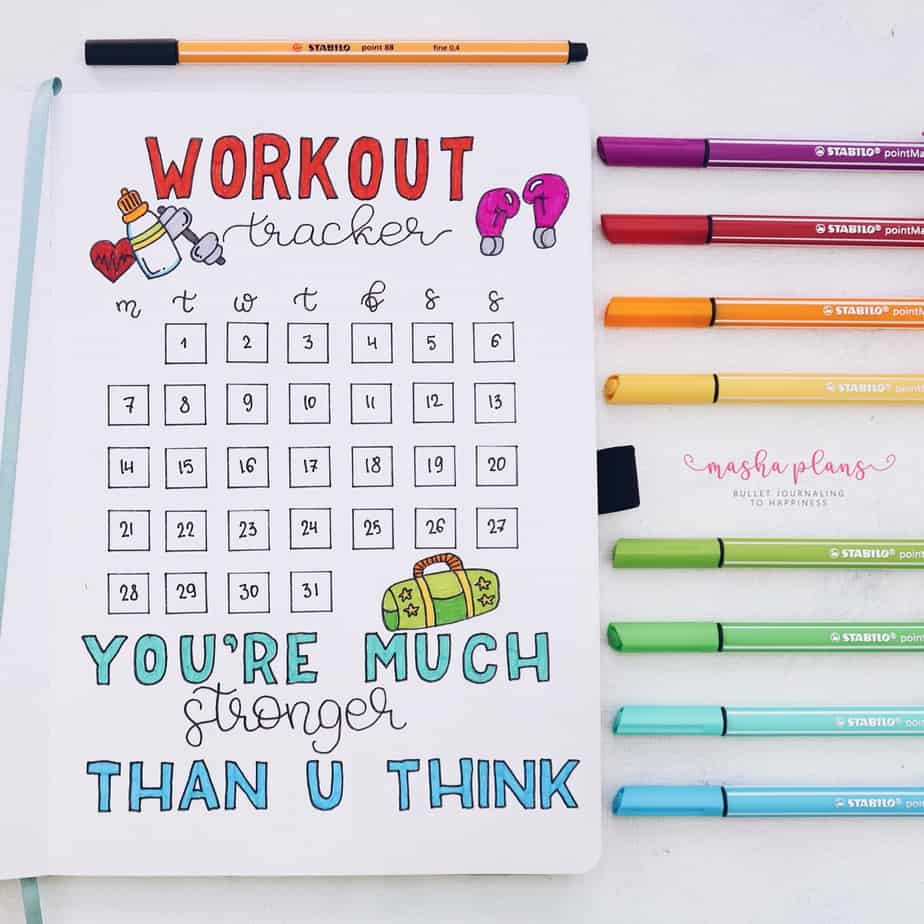31 Fun and Simple Bullet Journal Page Ideas, Workout Tracker | Masha Plans