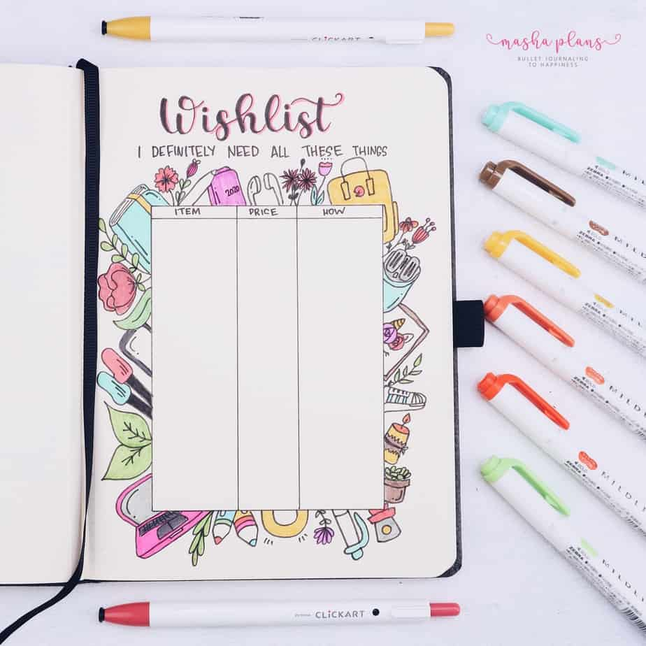 31 Fun and Simple Bullet Journal Page Ideas, Wishlist Spread | Masha Plans