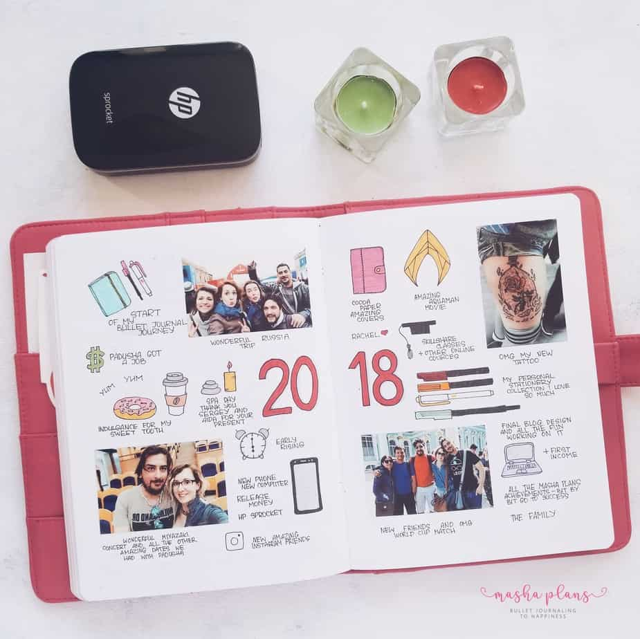 31 Fun and Simple Bullet Journal Page Ideas, Memories Spread | Masha Plans