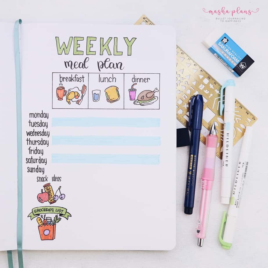 31 Fun and Simple Bullet Journal Page Ideas, Weekly Meal Plan | Masha Plans