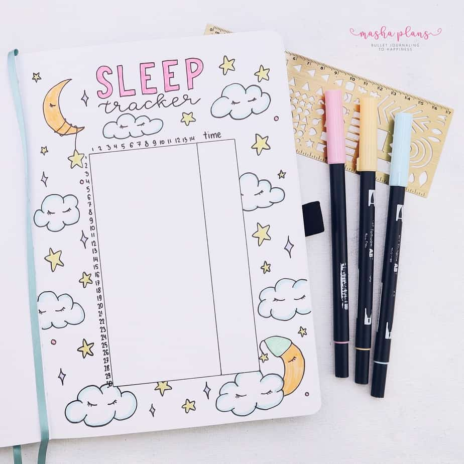 31 Fun and Simple Bullet Journal Page Ideas, Sleep Tracker | Masha Plans