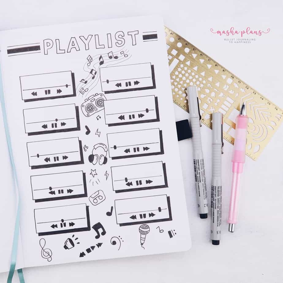 31 Fun and Simple Bullet Journal Page Ideas, Playlist Spread | Masha Plans
