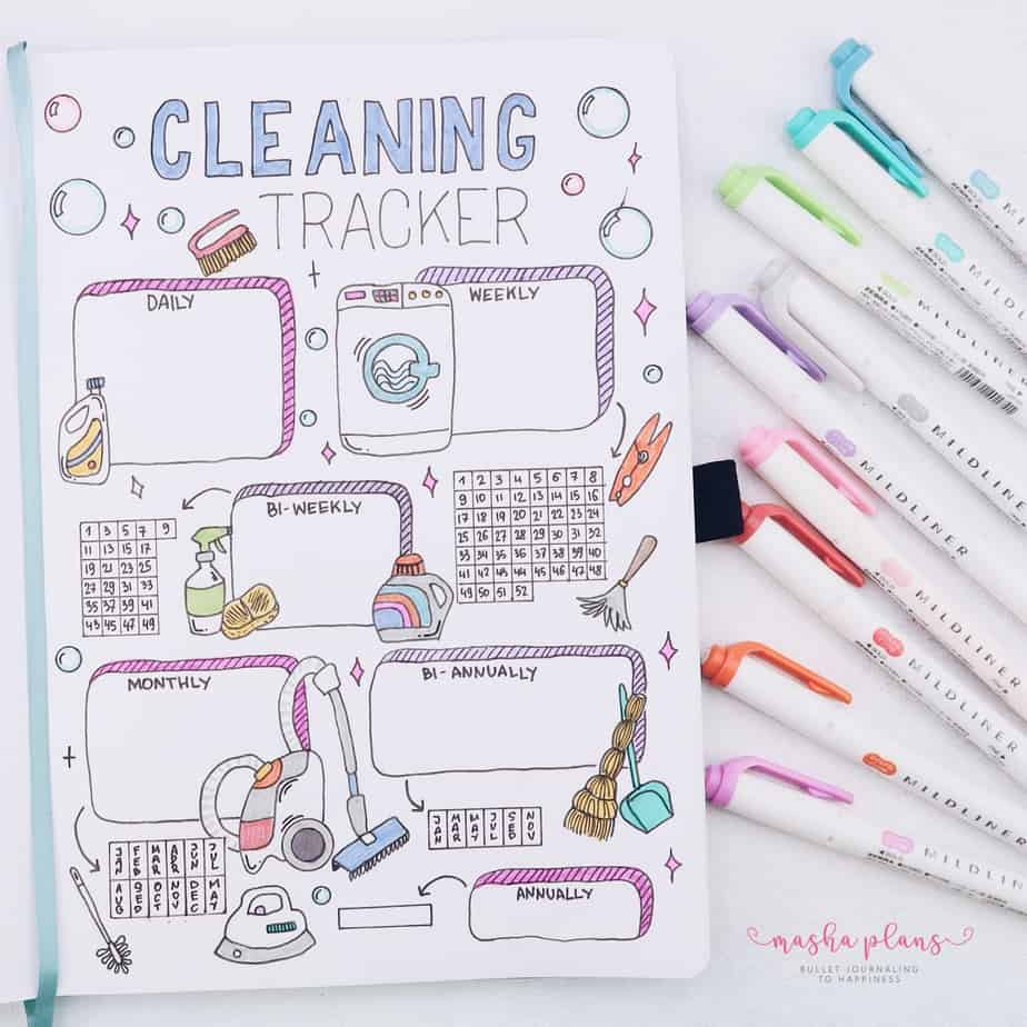 31 Fun and Simple Bullet Journal Page Ideas, Cleaning Spread | Masha Plans