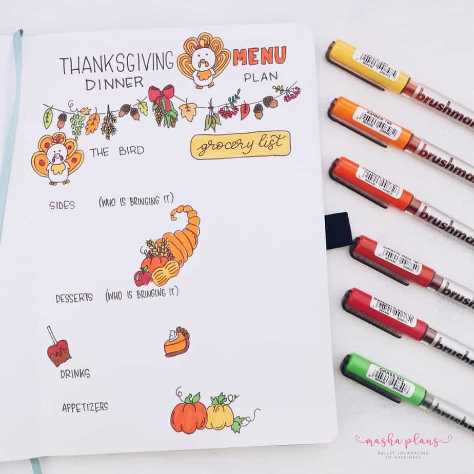 31 Fun and Simple Bullet Journal Page Ideas, Family Dinner Meal Plan | Masha Plans