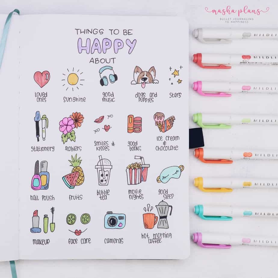 31 Fun and Simple Bullet Journal Page Ideas, Things That Make Me Happy Spread | Masha Plans