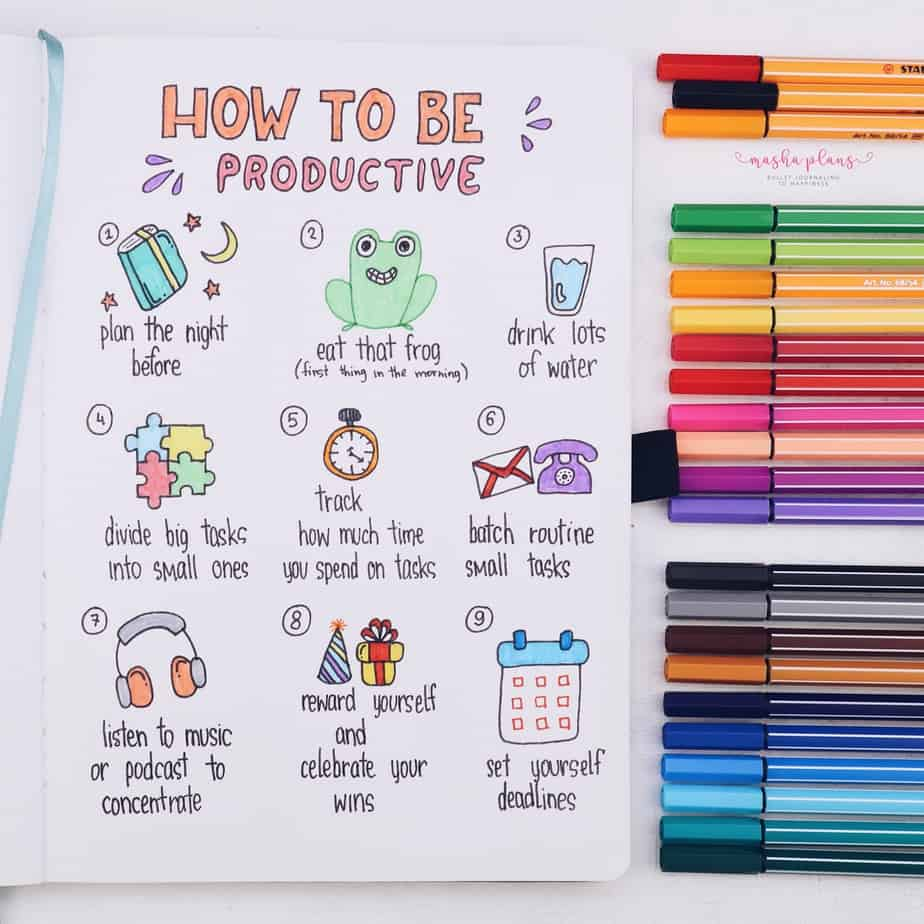 31 Fun and Simple Bullet Journal Page Ideas, Productivity Spread | Masha Plans