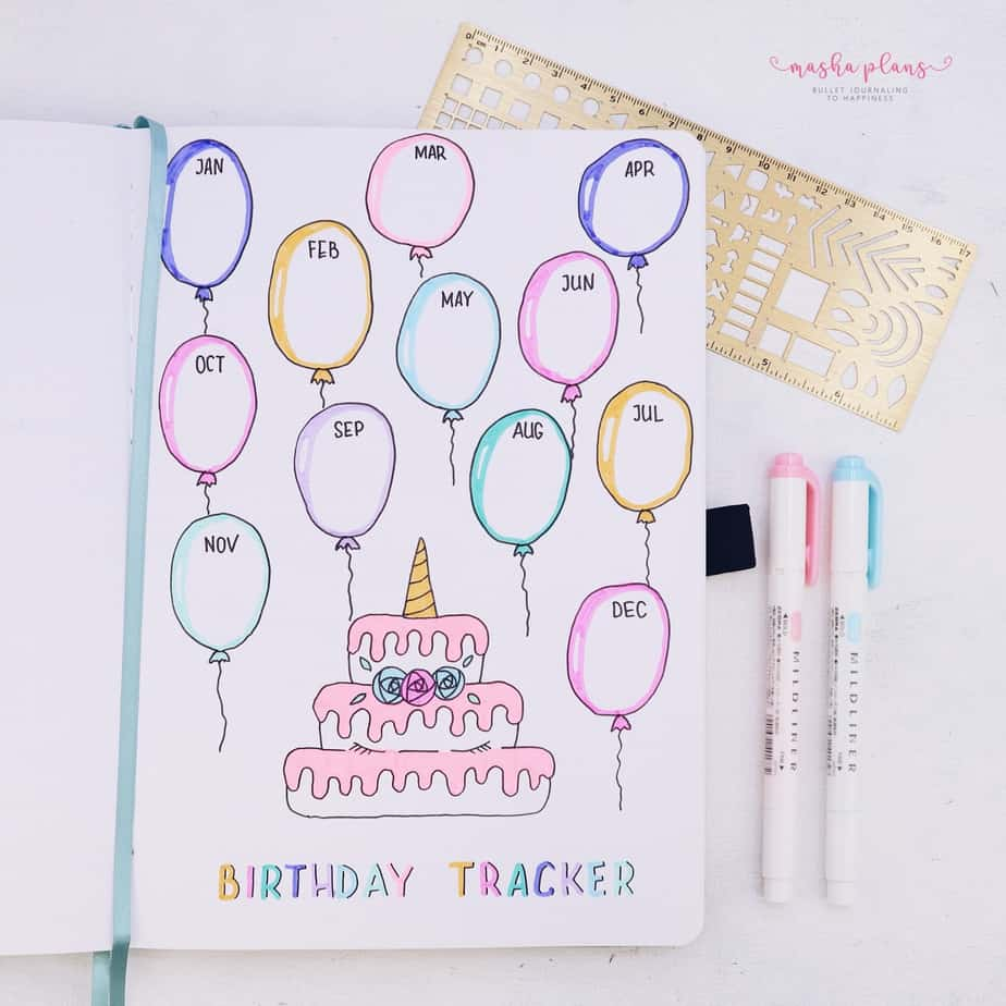 31 Fun and Simple Bullet Journal Page Ideas, Birthday Tracker | Masha Plans