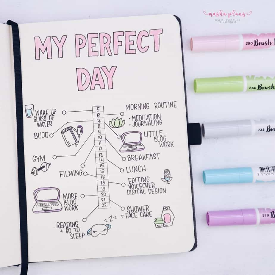 31 Fun and Simple Bullet Journal Page Ideas, My Perfect Day Spread | Masha Plans