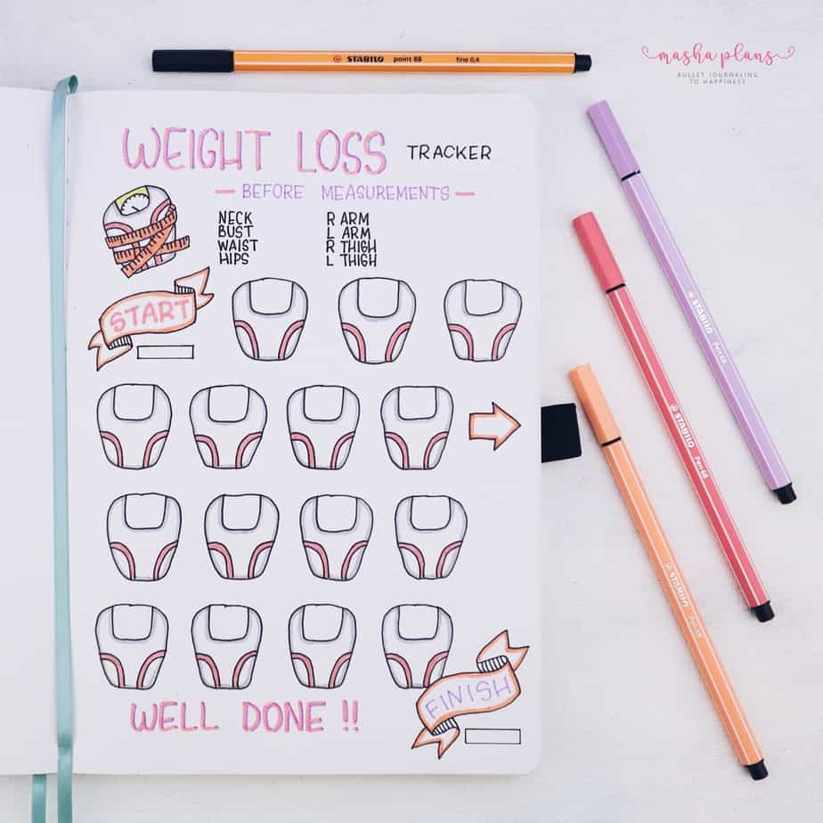 31 Fun and Simple Bullet Journal Page Ideas, Weight Loss Tracker | Masha Plans