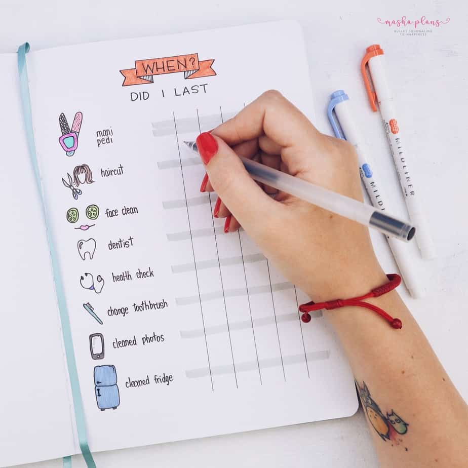 31 Fun and Simple Bullet Journal Page Ideas, When Did I last Page | Masha Plans