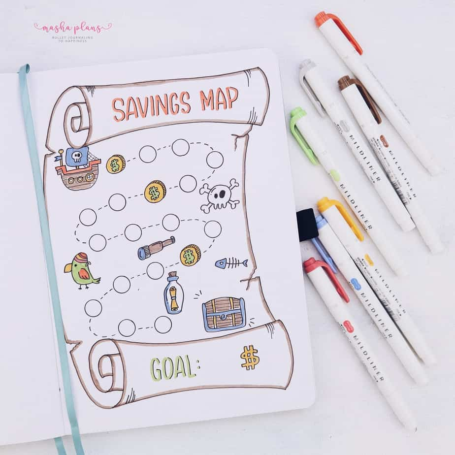 31 Fun and Simple Bullet Journal Page Ideas, Savings Tracker | Masha Plans