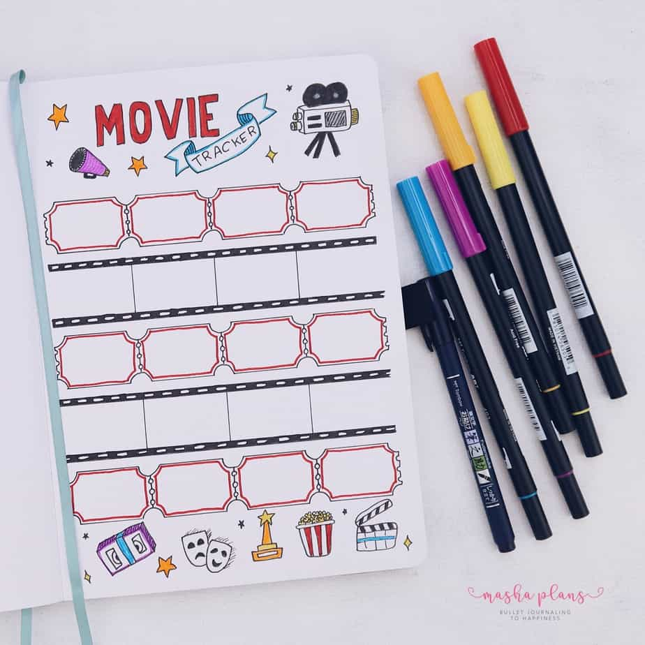31 Fun and Simple Bullet Journal Page Ideas, Movie Tracker | Masha Plans