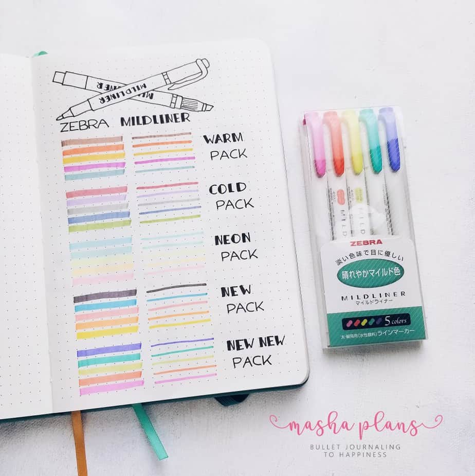 31 Fun and Simple Bullet Journal Page Ideas, Pen Test Spread | Masha Plans