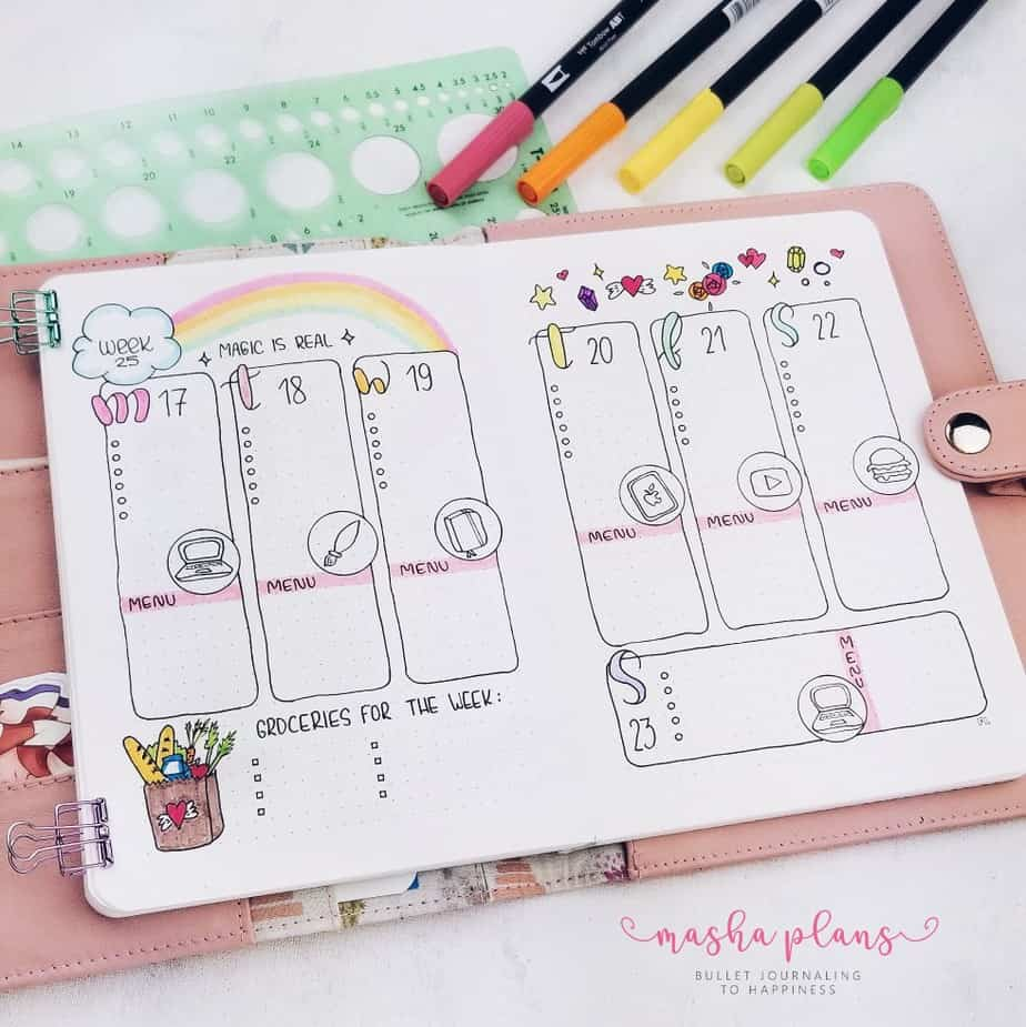 31 Fun and Simple Bullet Journal Page Ideas, Weekly Log With Meal Plan | Masha Plans