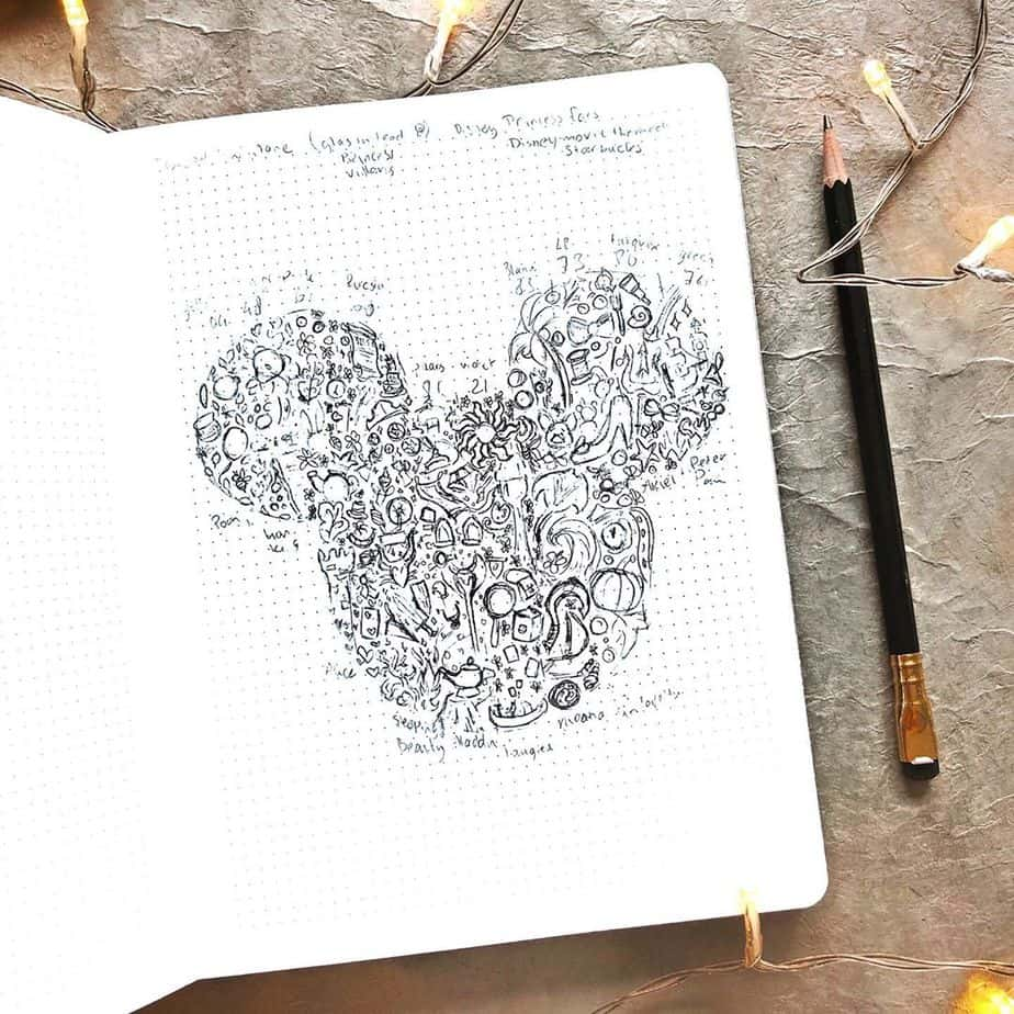 Disney Bullet Journal inspirations - cover page by @ambersnotebooks | Masha Plans
