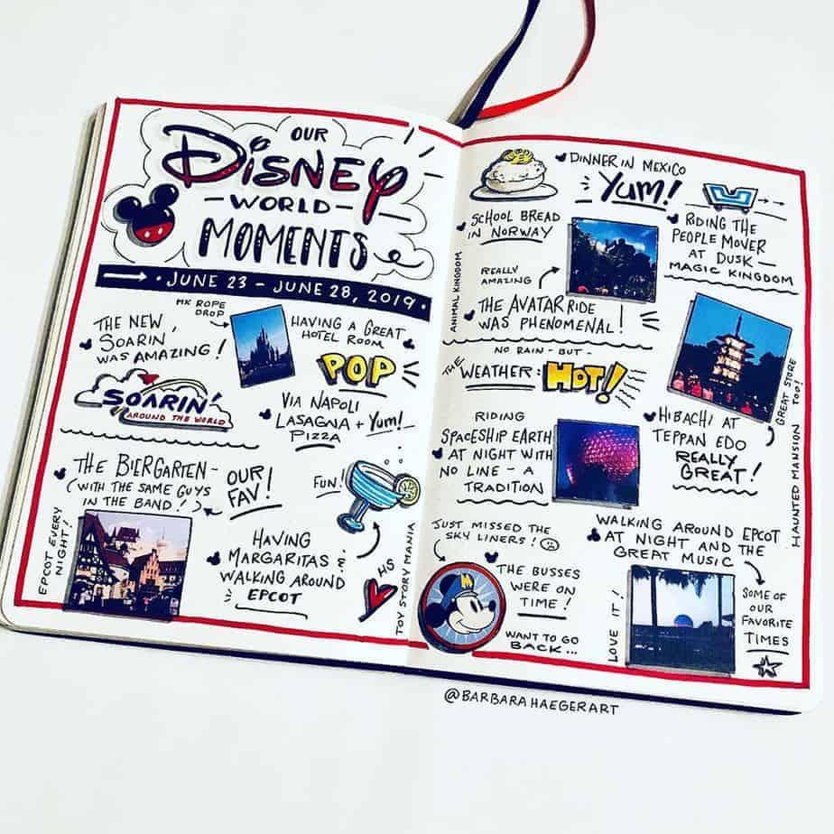 Disney Bullet Journal inspirations - spread by @barbarahaederart | Masha Plans
