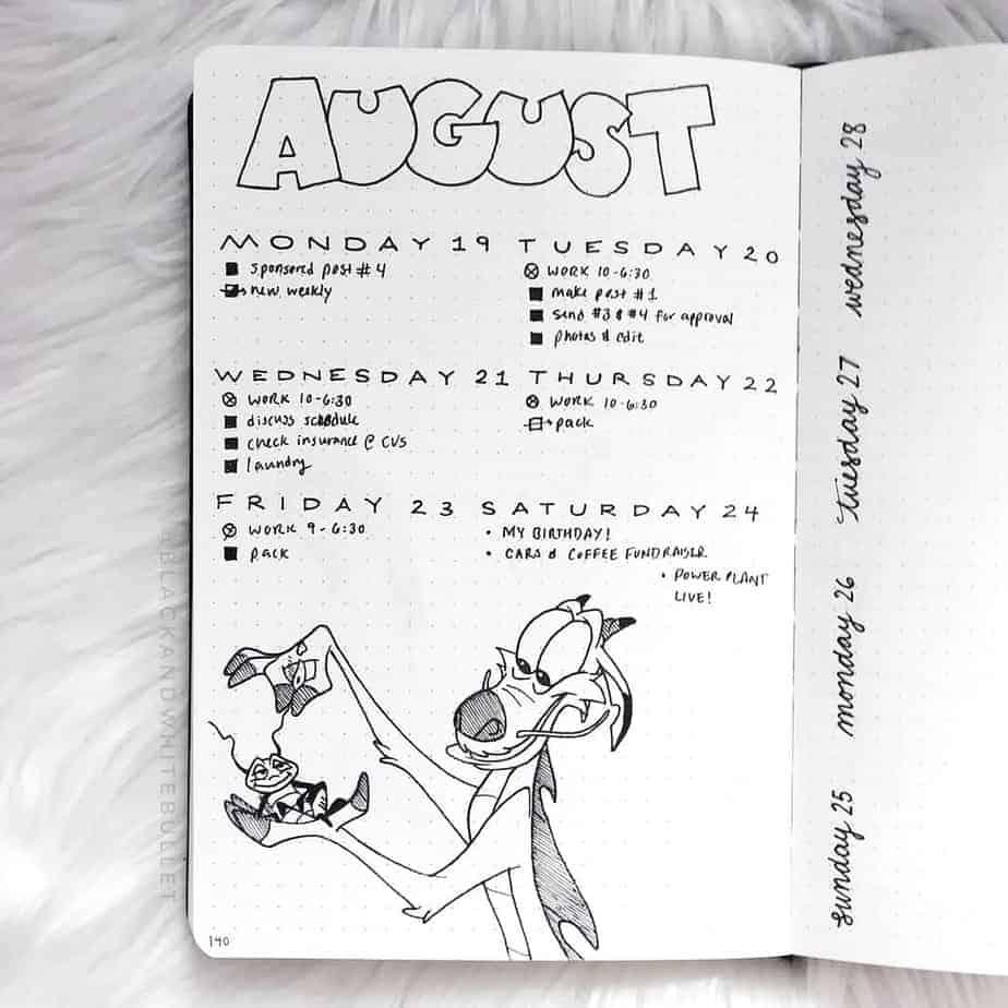 Disney Bullet Journal inspirations - weekly spread by @blackandwhitebullet | Masha Plans