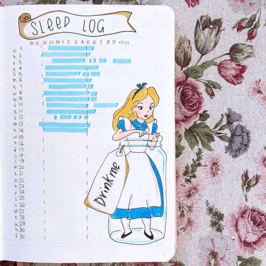 Disney Bullet Journal inspirations - sleep tracker by @bujosonia | Masha Plans