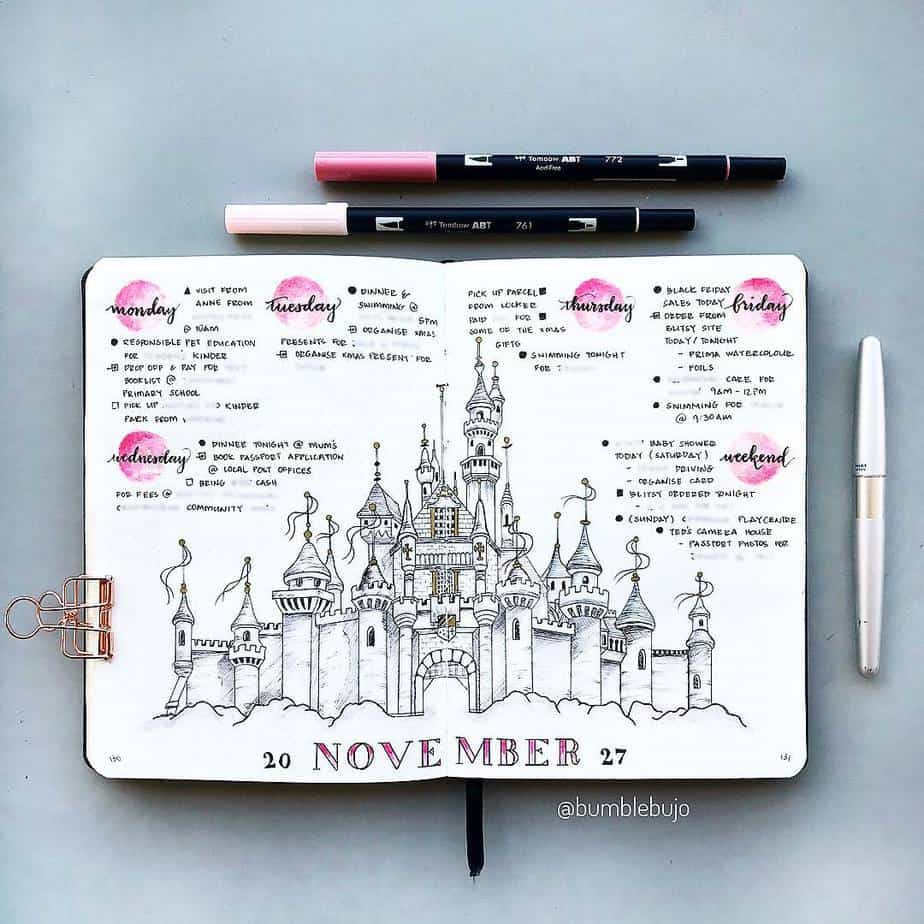Disney Bullet Journal inspirations - weekly spread by @bumblebujo | Masha Plans