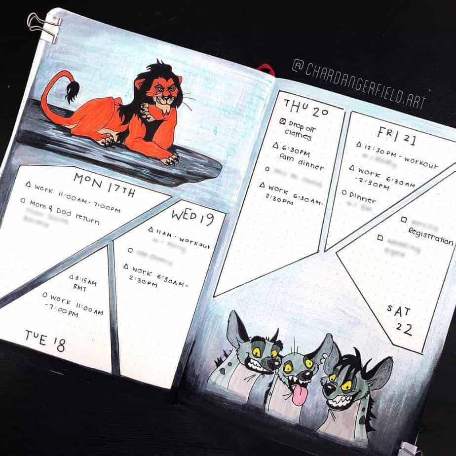 Disney Bullet Journal inspirations - weekly spread by @chardangerfield.art | Masha Plans