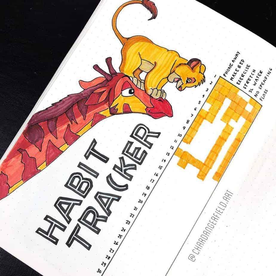 Disney Bullet Journal inspirations - habit tracker by @chardangerfield.art | Masha Plans