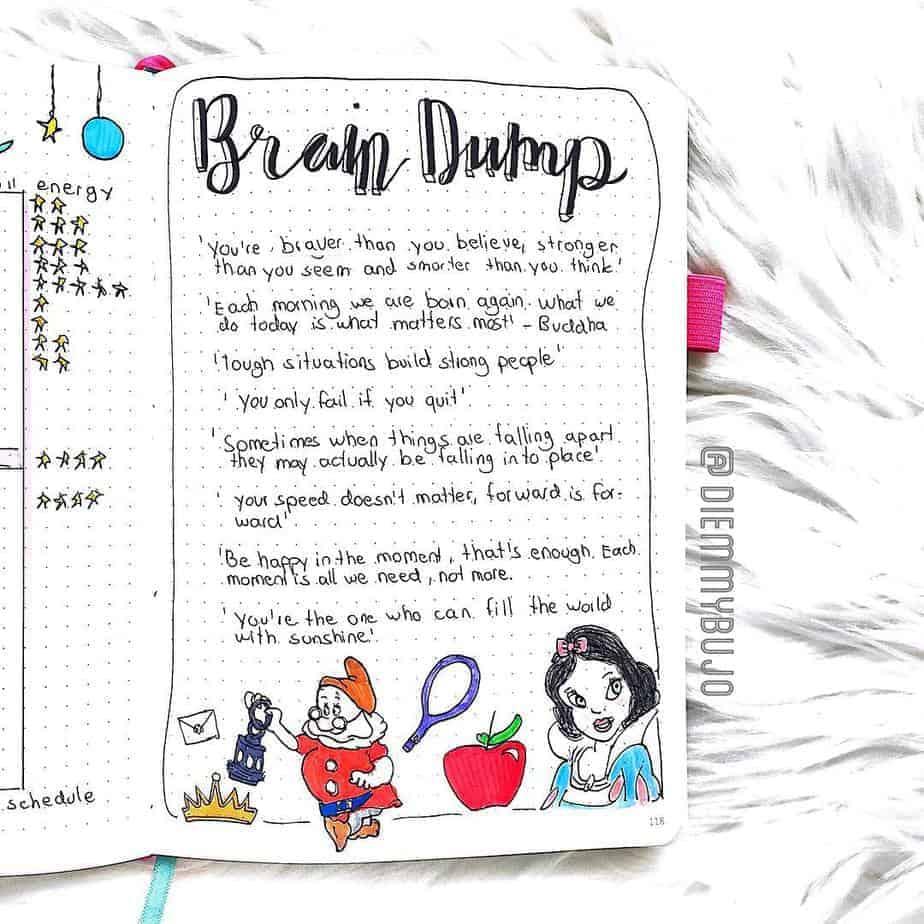 Disney Bullet Journal inspirations - spread by @diemmybujo | Masha Plans