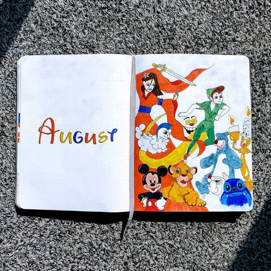 Disney Bullet Journal inspirations - cover page by @jdogs.and.doodles | Masha Plans