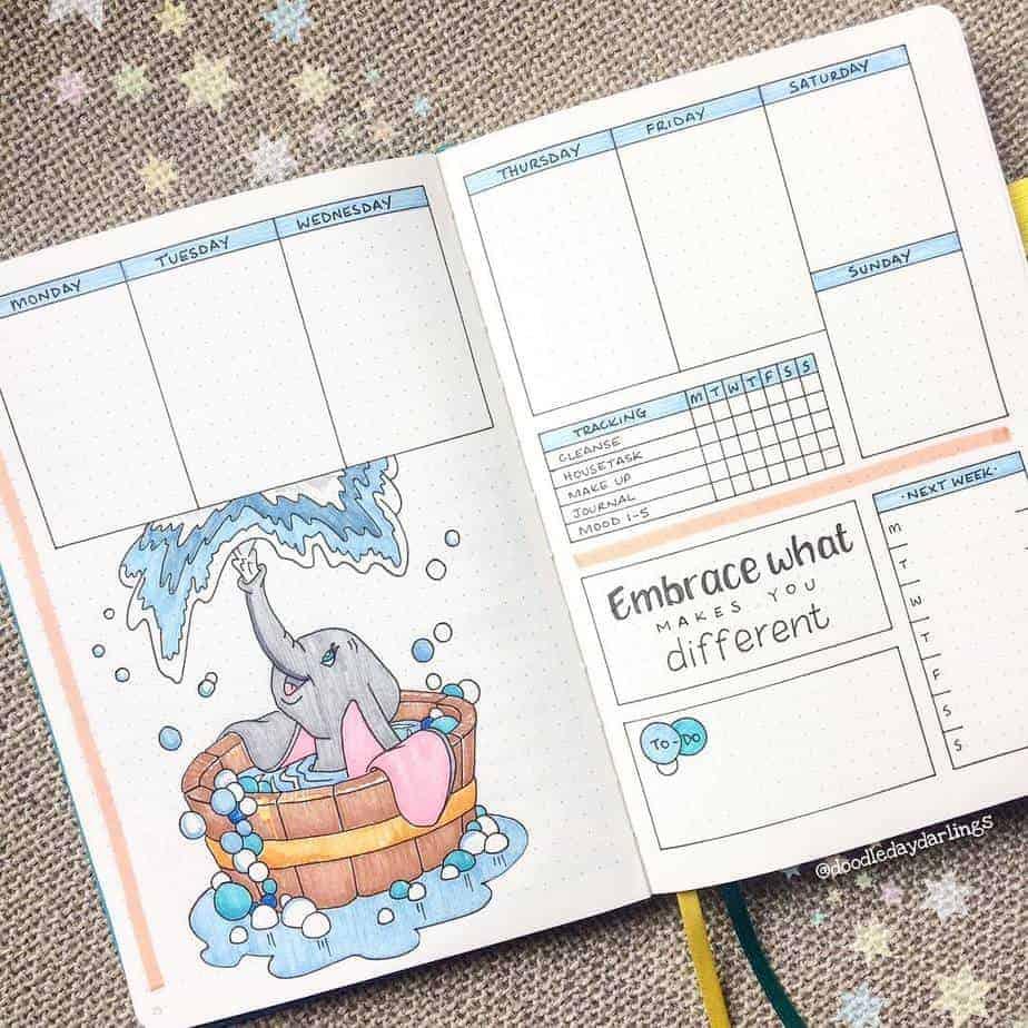 Disney Bullet Journal inspirations - weekly spread by @doodledaydarlings | Masha Plans