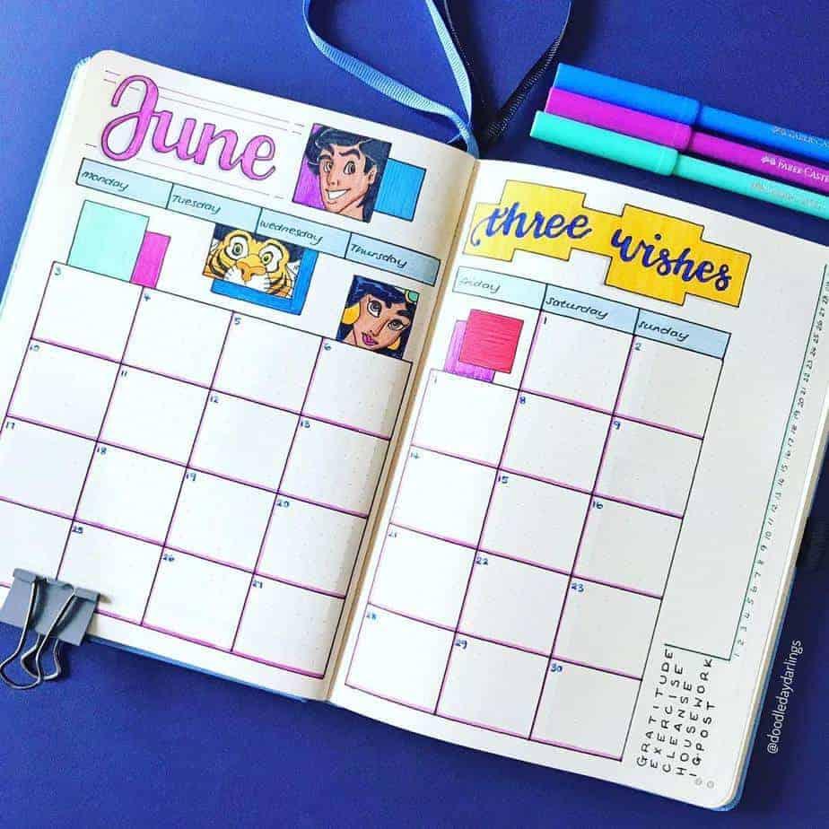 Disney Bullet Journal inspirations - monthly log by @doodledaydarlings | Masha Plans