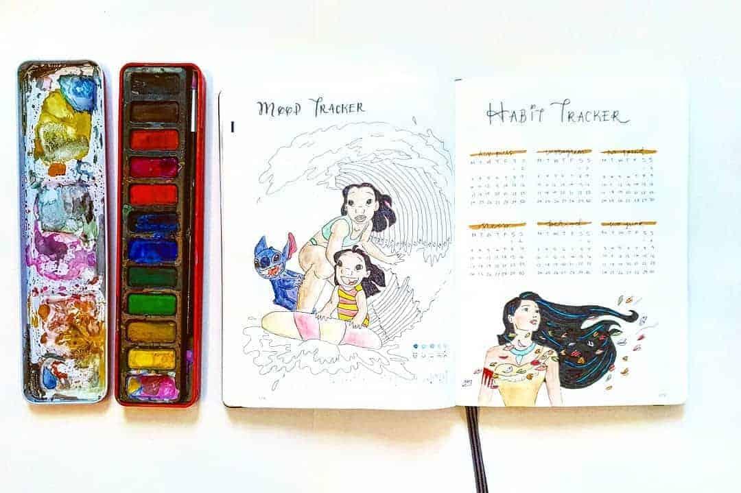 Disney Bullet Journal Inspirations - tracker by @drawwithme.ri | Masha Plans