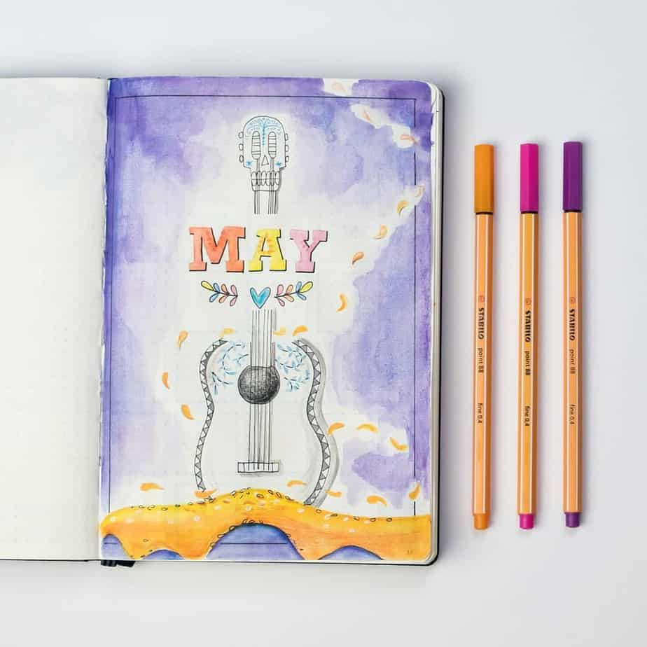 Disney Bullet Journal Inspirations - cover page by @dutch_dots | Masha Plans