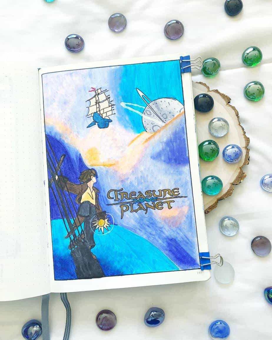 Disney Bullet Journal inspirations - cover page by @emily.journals | Masha Plans