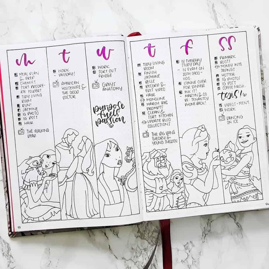 Disney Bullet Journal inspirations - weekly spread by @inkyloft | Masha Plans