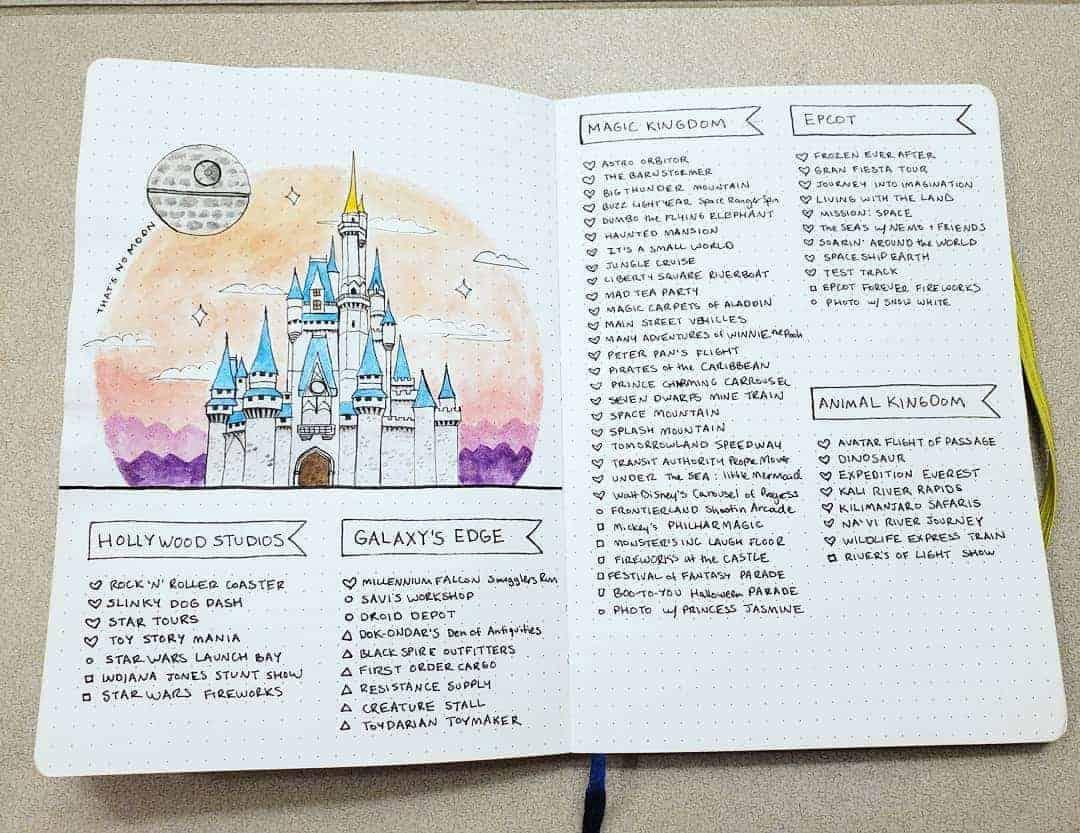 Disney Bullet Journal inspirations - spread by @ladyjbujo | Masha Plans
