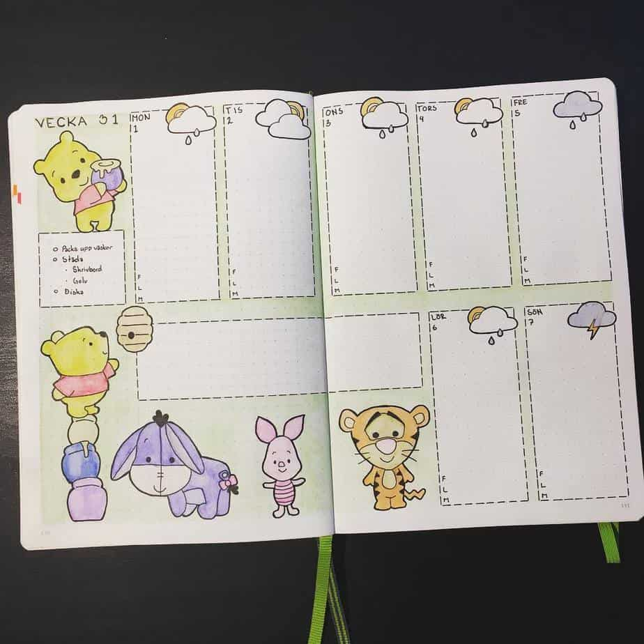 Disney Bullet Journal inspirations - weekly spread by @malwal94_bujo | Masha Plans
