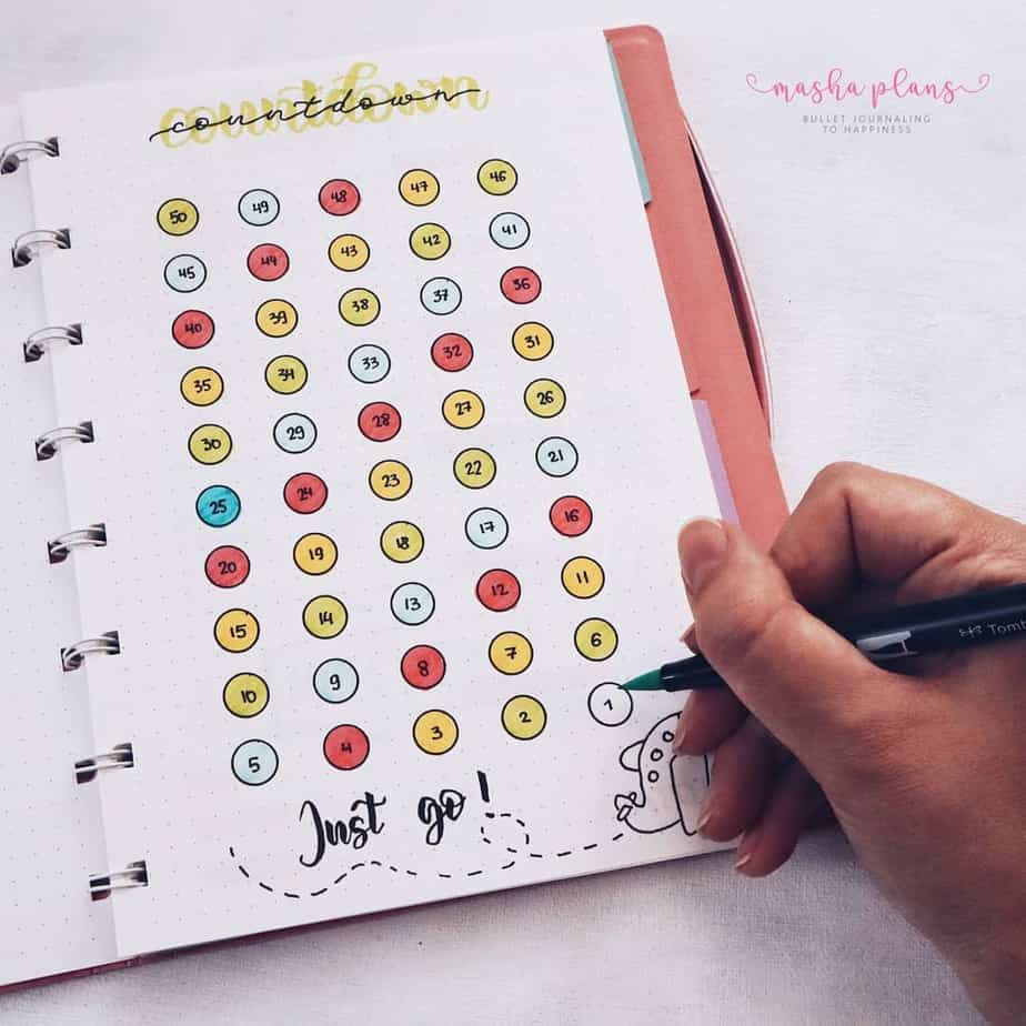31 Fun and Simple Bullet Journal Page Ideas, Countdown Spread | Masha Plans