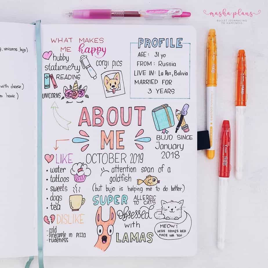 31 Fun and Simple Bullet Journal Page Ideas, About Me Page | Masha Plans
