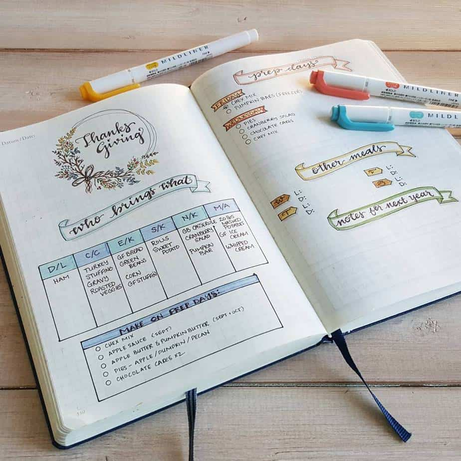 Thanksgiving Bullet Journal Page Ideas | Masha Plans