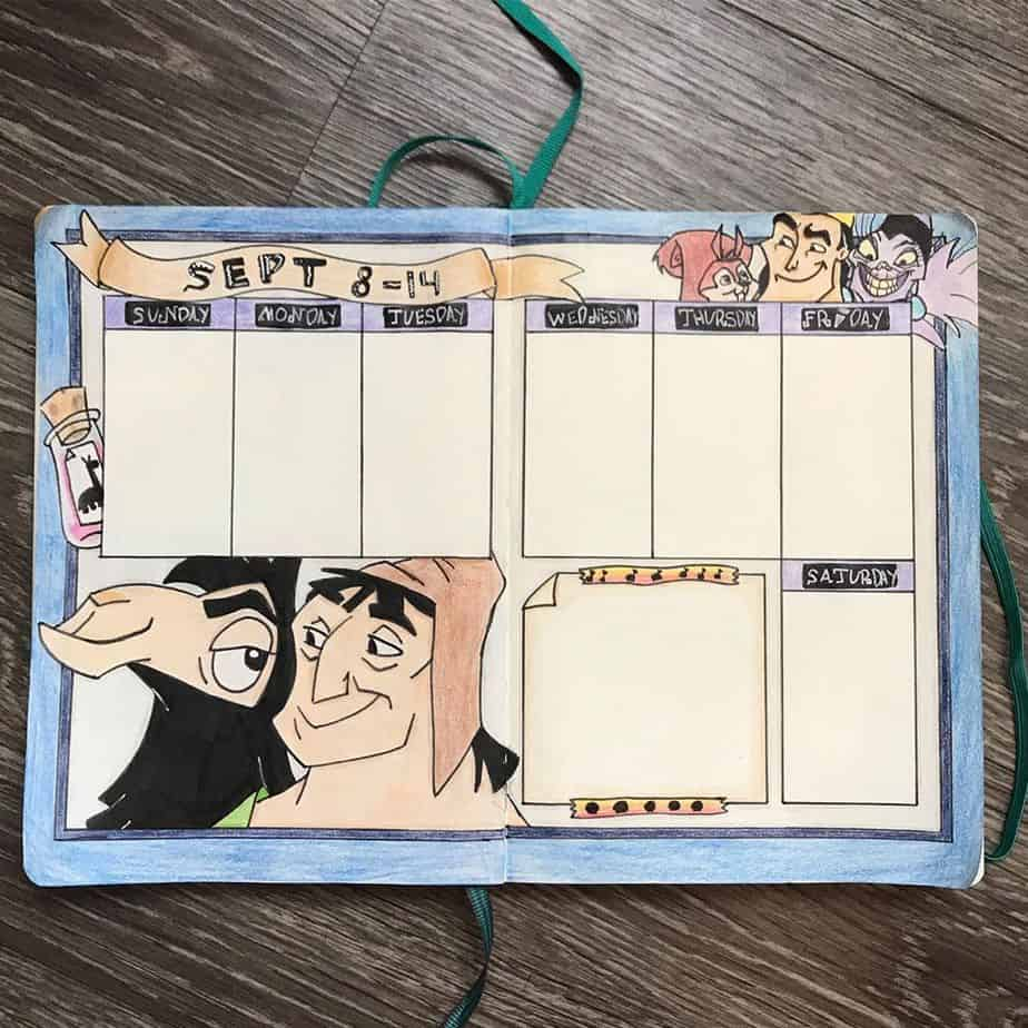 Disney Bullet Journal inspirations - weekly spread by @pawsitivelycrafts | Masha Plans