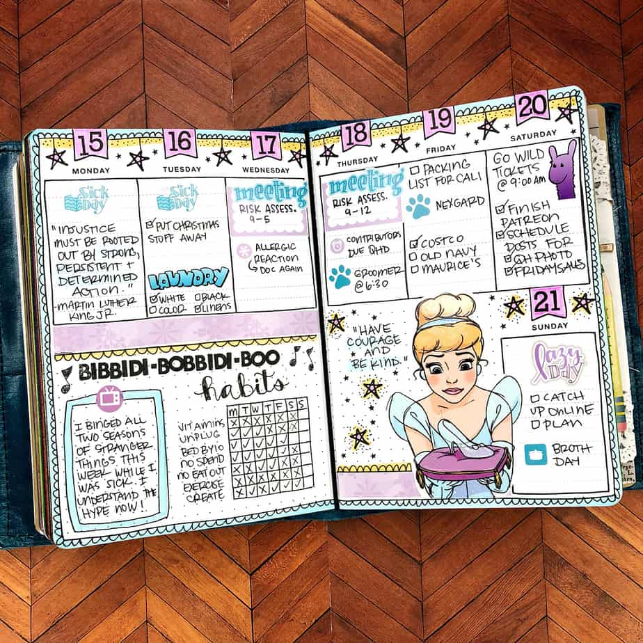 Disney Bullet Journal inspirations - weekly spread by @quirkyheart | Masha Plans